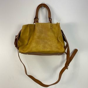 Clarks Tan Yellow Floral Faux Leather Crossbody Shoulder Bag